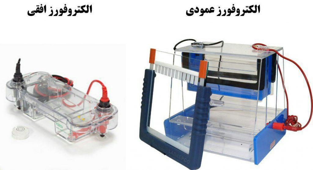 الکتروفورزها به دو دسته عمودی و افقی تقسیم می شوند و بر اساس هدفی که ما دنبال میکنیم از آنها استفاده می کنیم.